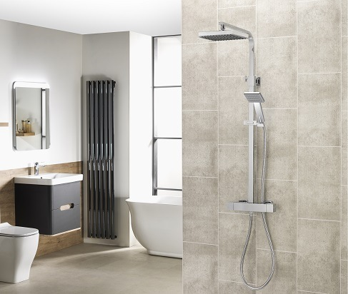 AQ Square Bar Valve mixer shower with adjustable and fixed shower heads