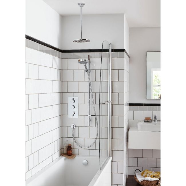 Small Bathroom with mixer shower over bath