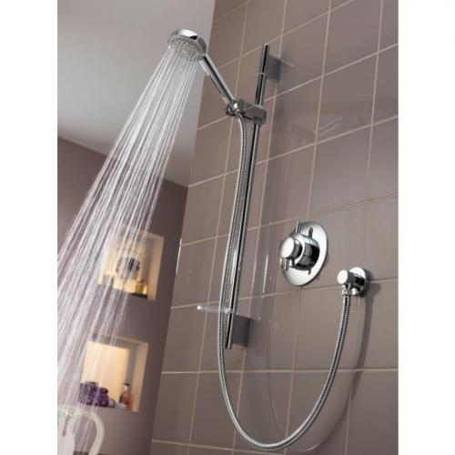 concealed shower on tiled wall
