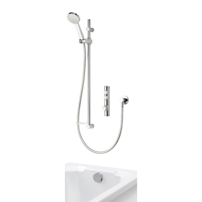 Concealed digital bath shower iSystem with adjustable shower head and bath filler overflow - gravity pumped