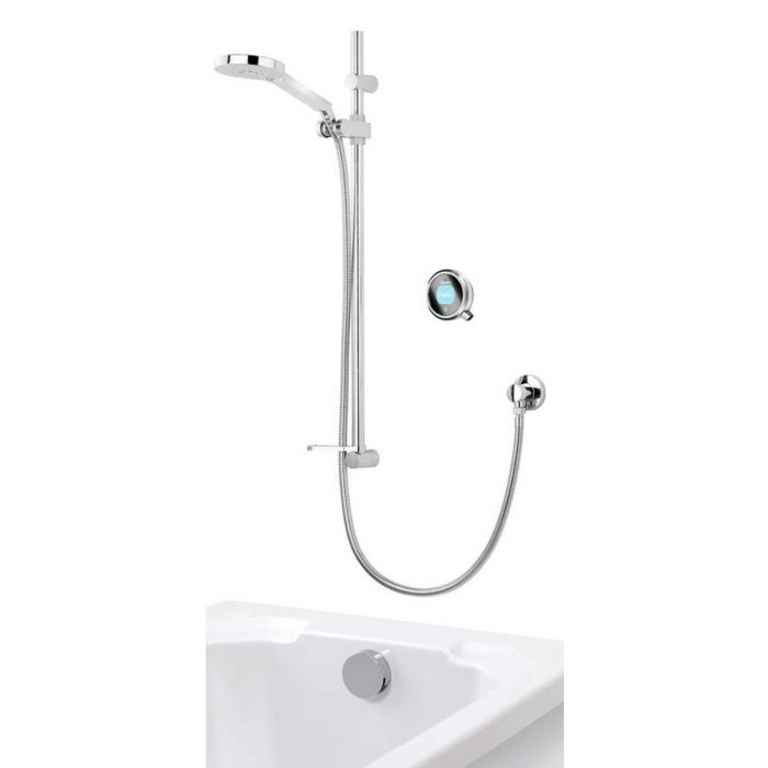 Concealed digital bath shower mixer Q with adjustable shower head and bath overflow filler - Gravity Pumped