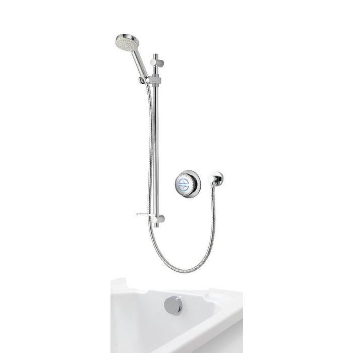 Concealed digital bath shower mixer Quartz with adjustable shower head and bath overflow filler - HP/Combi