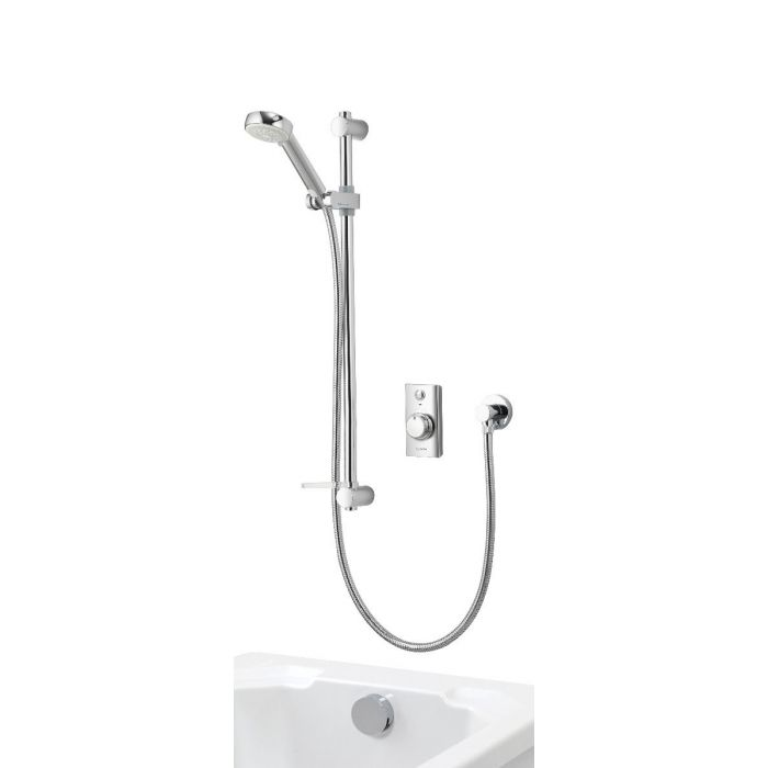 Concealed digital bath shower mixer Visage with adjustable head and bath overflow filler - Gravity Pumped