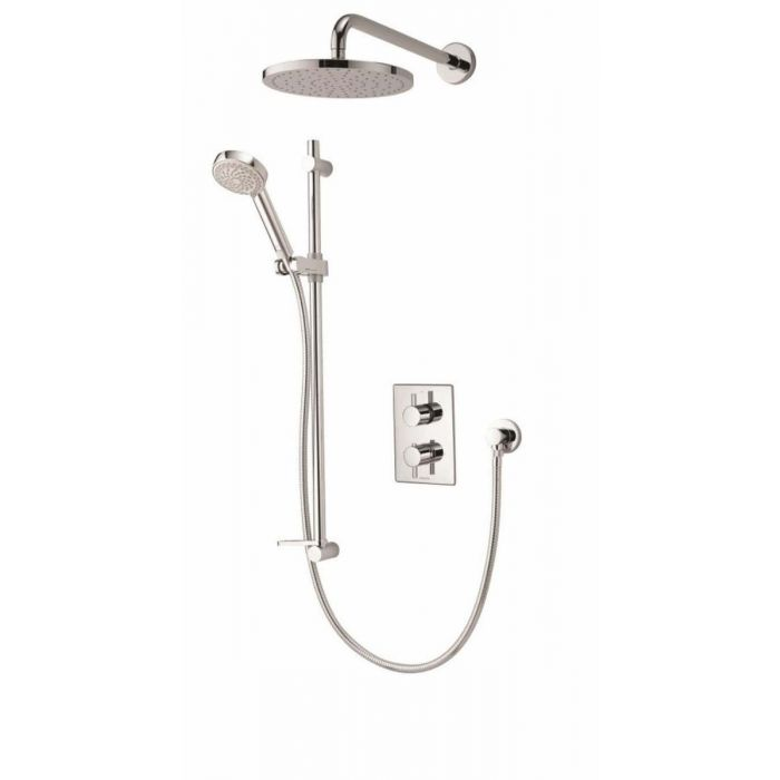 Concealed mixer shower Dream DCV with adjustable and wall fixed drencher shower heads - HP/Combi