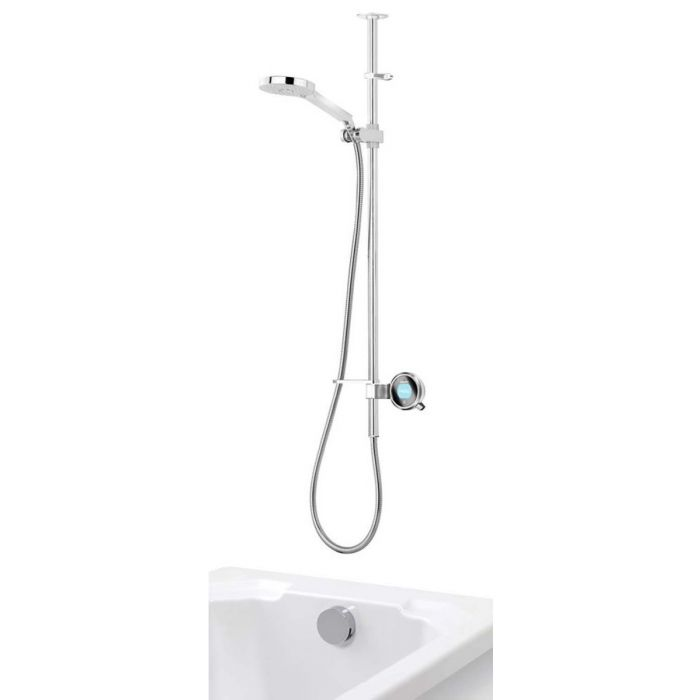 Exposed digital bath shower mixer Q with adjustable shower head and bath overflow filler - Gravity Pumped