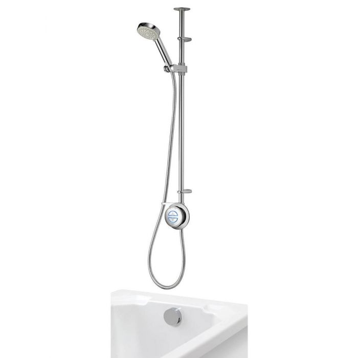 Exposed digital bath shower mixer Quartz with adjustable shower head and bath overflow filler - Gravity Pumped