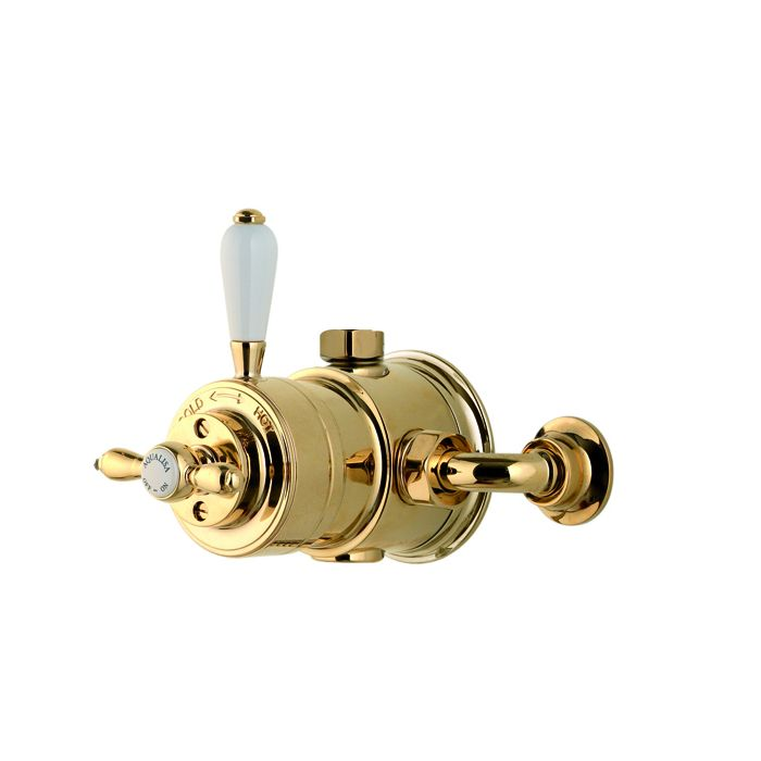 Exposed thermostatic victorian shower valve mixer Aquatique Thermo - Gold