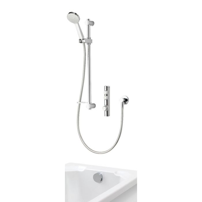 Concealed digital bath shower iSystem with adjustable shower head and bath filler overflow - hp/combi