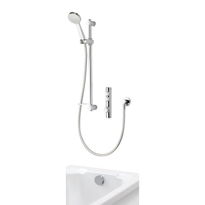 Concealed digital bath shower iSystem with adjustable shower head and bath filler overflow - gravity pumped