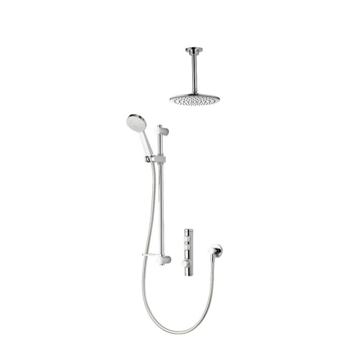 Concealed digital shower iSystem with adjustable and ceiling fixed shower heads - gravity pumped