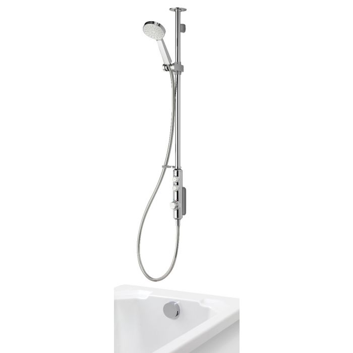 Exposed digital bath shower iSystem with adjustable shower head and bath filler overflow - gravity pumped