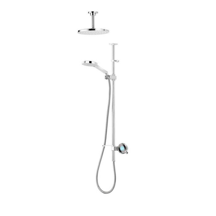 Exposed digital shower Q-Q exposed with adjustable and fixed ceiling heads - Gravity Pumped