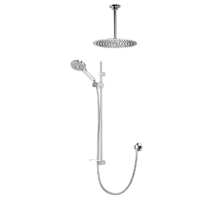 Shower head Kits Premier Collection-Vita adjustable handset with 250mm round fixed ceiling head