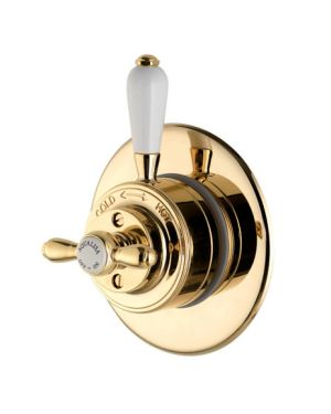 Traditional style mixer shower valve in Gold.