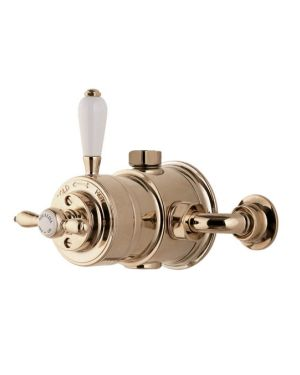 Traditional style exposed mixer shower valve in Gold.