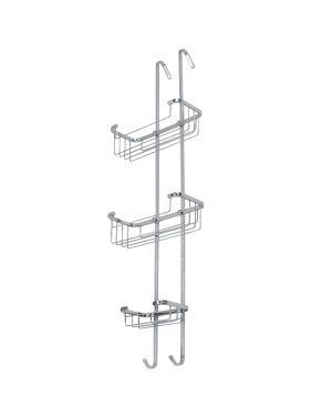 Stainless steel 3 tiered shower caddy with hooks to hang over shower cubicle.
