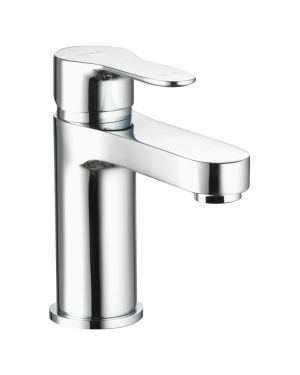 Basin taps with a soft rounded paddle lever