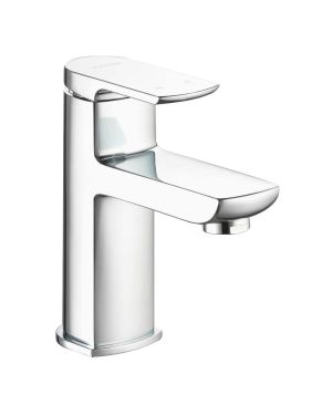 Basin taps with a soft squared paddle lever