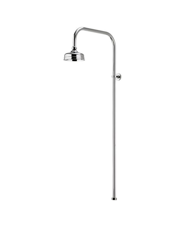 Traditional Exposed Wall Fixed Shower head with 125mm Shower spray plate. Finished in Chrome