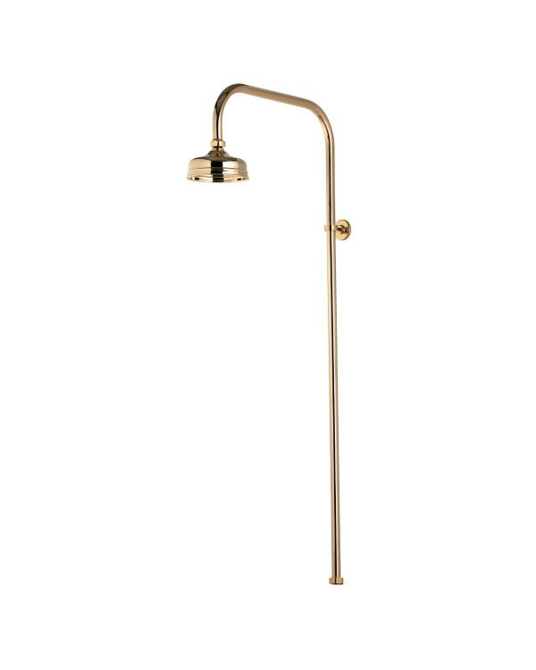 125mm Exposed Traditional Drencher Shower Head - Gold