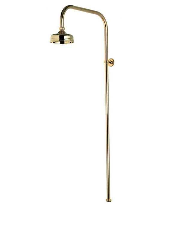 Aquatique exposed fixed shower head - 125cm, Gold