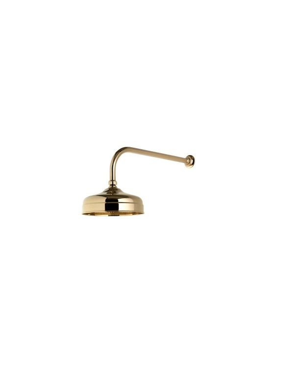 200mm Wall Fixed Traditional Shower Head - Gold
