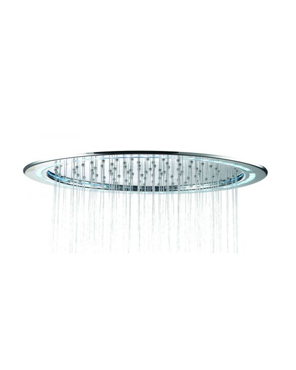 Fixed round drencher Shower heads Premier Collection-Options 365mm Round Flush fit LED metal shower head - Chrome